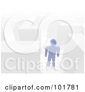 Royalty Free RF Clipart Illustration Of A 3d Azul Guy In A Maze by Jiri Moucka