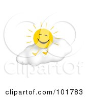 Royalty Free RF Clipart Illustration Of A 3d Happy Sun Sitting On A Puffy Cloud