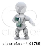 3d White Character Holding A Green Folder by KJ Pargeter