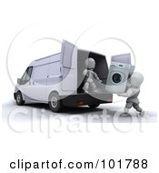 Royalty Free RF Clipart Illustration Of 3d White Characters Loading A Washing Machine In A Moving Van
