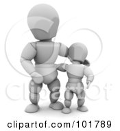 Royalty Free RF Clipart Illustration Of A 3d White Character Dad With His Son by KJ Pargeter