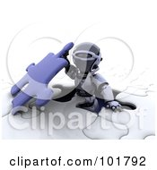 Poster, Art Print Of 3d Silver Robot Emerging Through An Opening In A Jigsaw Puzzle