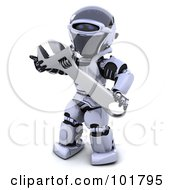 Royalty Free RF Clipart Illustration Of A 3d Silver Robot Holding A Large Wrench