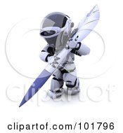 Royalty Free RF Clipart Illustration Of A 3d Silver Robot Writing With A Large Pen by KJ Pargeter