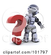 Royalty Free RF Clipart Illustration Of A 3d Silver Robot Beside A Red Question Mark