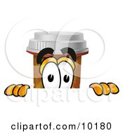 Pill Bottle Mascot Cartoon Character Peeking Over A Surface
