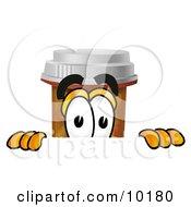 Pill Bottle Mascot Cartoon Character Peeking Over A Surface