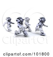 Royalty Free RF Clipart Illustration Of A Group Of 3d Silver Robots Jogging by KJ Pargeter