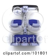 Royalty Free RF Clipart Illustration Of A 3d Car Interior Concept With Blue Seats by KJ Pargeter