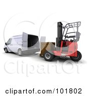 3d Forklift Loading A Wooden Crate Into A Delivery Van