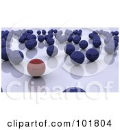 Royalty Free RF Clipart Illustration Of A 3d Red Ball Standing Out From Blue Balls On A Reflective Surface by KJ Pargeter