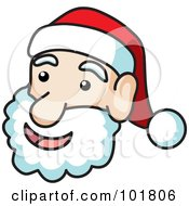 Royalty Free RF Clipart Illustration Of A Jolly Santa Face With Black Outlines by Rosie Piter