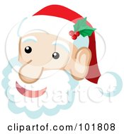 Royalty Free RF Clipart Illustration Of A Jolly Santa Claus Face And Fluffy Beard by Rosie Piter