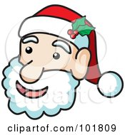 Royalty Free RF Clipart Illustration Of A Jolly Santa Face With Holly On His Hat by Rosie Piter