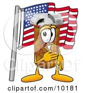 Pill Bottle Mascot Cartoon Character Pledging Allegiance To An American Flag