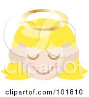Blond Angel Girl With A Halo And Pink Cheeks