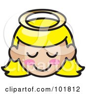 Blond Angel Girl Face With Pink Cheeks