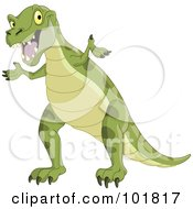 Royalty Free RF Clipart Illustration Of A Green Tyrannosaurus Rex Shrugging by yayayoyo