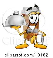 Pill Bottle Mascot Cartoon Character Dressed As A Waiter And Holding A Serving Platter