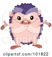 Royalty Free RF Clipart Illustration Of A Cute Hedgehog Holding His Arms Out