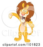 Royalty Free RF Clipart Illustration Of A Host Or Singer Lion Using His Tail Like A Microphone by yayayoyo