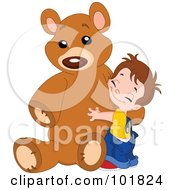 Royalty Free RF Clipart Illustration Of A Sweet Boy Hugging His Giant Teddy Bear by yayayoyo