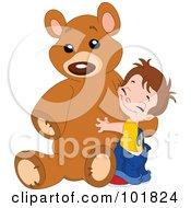 Sweet Boy Hugging His Giant Teddy Bear