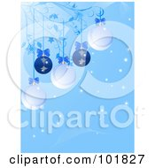 Blue Christmas Bauble Background With Ornaments And Bows Hanging From Vines