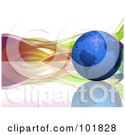Royalty Free RF Clipart Illustration Of A Blue Mosaic Disco Ball Globe On A Reflective Surface With Colorful Waves by elaineitalia
