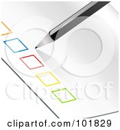 Royalty Free RF Clipart Illustration Of A Pencil Beside A Row Of Colorful Check Boxes On A Piece Of Paper