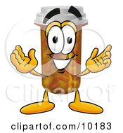 Poster, Art Print Of Pill Bottle Mascot Cartoon Character With Welcoming Open Arms