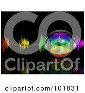 Royalty Free RF Clipart Illustration Of A Rainbow Music Disco Ball With Headphones And Colorful Waves On Black