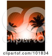 Royalty Free RF Clipart Illustration Of A Silhouetted Crowd Dancing With Their Hands In The Air On A Tropical Beach Party Over An Orange Swirl