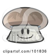 Royalty Free RF Clipart Illustration Of A Happy Mushroom Face Smiling by Leo Blanchette