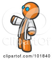 Orange Man Scientist Wearing Blue Glasses And A Lab Coat