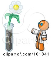 Royalty Free RF Clipart Illustration Of An Orange Man Scientist By A Giant White Daisy Flower In A Test Tube