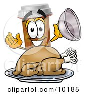 Clipart Picture Of A Pill Bottle Mascot Cartoon Character Serving A Thanksgiving Turkey On A Platter