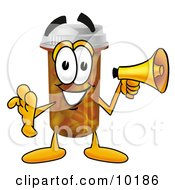 Pill Bottle Mascot Cartoon Character Holding A Megaphone
