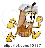 Clipart Picture Of A Pill Bottle Mascot Cartoon Character Running