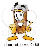 Pill Bottle Mascot Cartoon Character Pointing At The Viewer