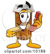 Pill Bottle Mascot Cartoon Character Holding A Telephone
