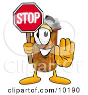 Pill Bottle Mascot Cartoon Character Holding A Stop Sign