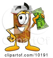 Pill Bottle Mascot Cartoon Character Holding A Dollar Bill