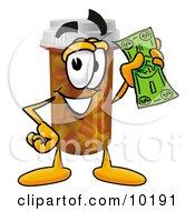 Pill Bottle Mascot Cartoon Character Holding A Dollar Bill