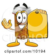 Clipart Picture Of A Pill Bottle Mascot Cartoon Character Holding A Yellow Sales Price Tag by Toons4Biz