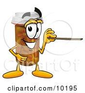 Pill Bottle Mascot Cartoon Character Holding A Pointer Stick