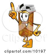 Pill Bottle Mascot Cartoon Character Pointing Upwards