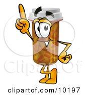 Pill Bottle Mascot Cartoon Character Pointing Upwards