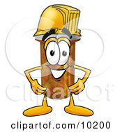 Pill Bottle Mascot Cartoon Character Wearing A Helmet