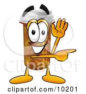 Pill Bottle Mascot Cartoon Character Waving And Pointing
